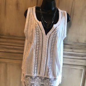 White laced cotton tunic